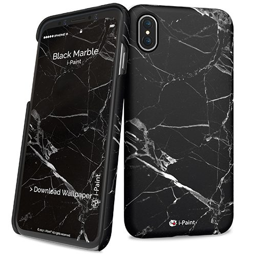 Cover Slim Rigida per iPhone X | Black Marble