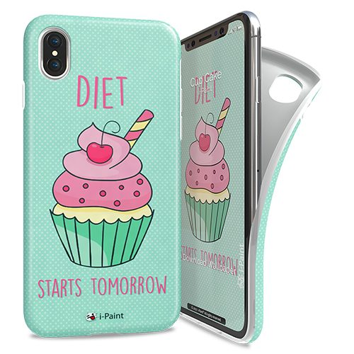 Cover Avvolgente Morbida per iPhone X/XS | Cup Cake