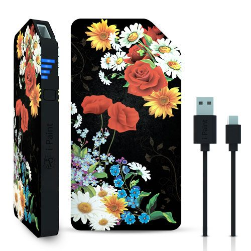 Universal Portable Power Bank | Black Flower