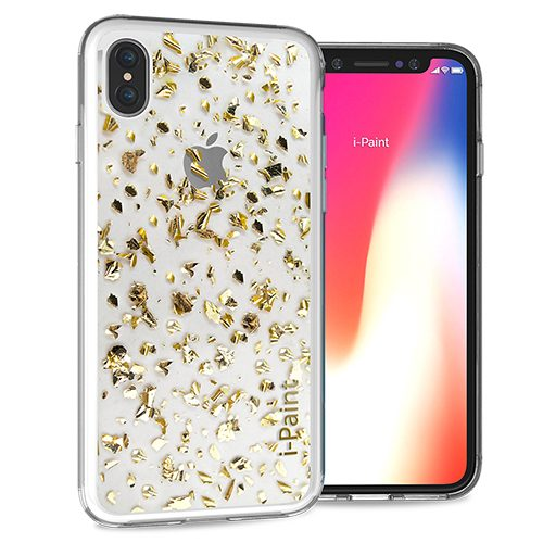 Cover Glitter Flakes per iPhone X | Gold