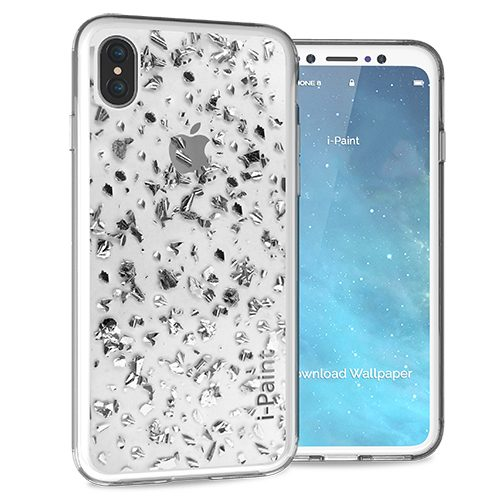 Glitter Flakes Case for iPhone X | Silver