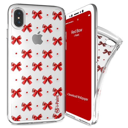 Cover Trendy SemiTrasparente per iPhone X | Red Bow