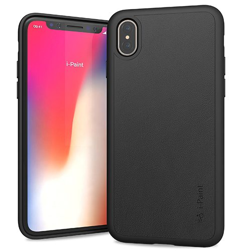 Cover in Vera Pelle per iPhone X | Black