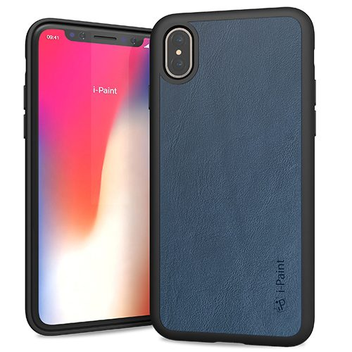 Cover in Vera Pelle per iPhone X | Blue