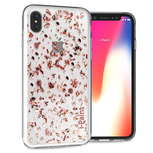 Cover Glitter Flakes per iPhone X/XS | Pink